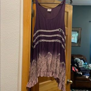 Free People Voile and Lace slip- purple ombré